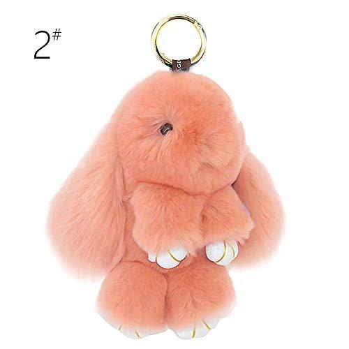 BUYITNOW Bunny Keychain Plush Rex Rabbit Fur Keyring Bag Charms Pendant, 5 Inch