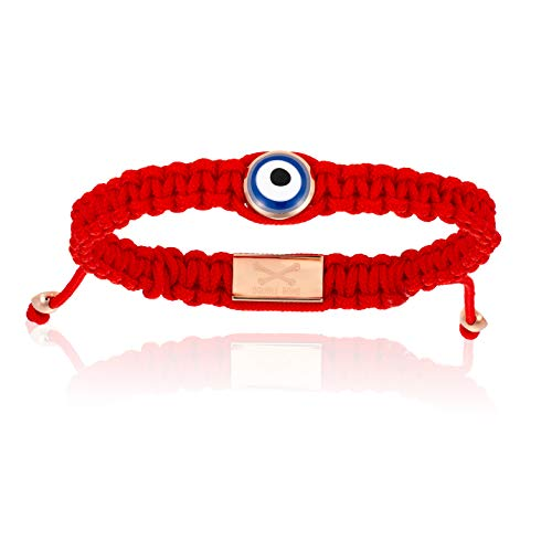 Double Bone Evil Eye Handmade Braided Bracelet with Rose Gold Lucky Eye Unisex and Adjustable (Red, 18) ()