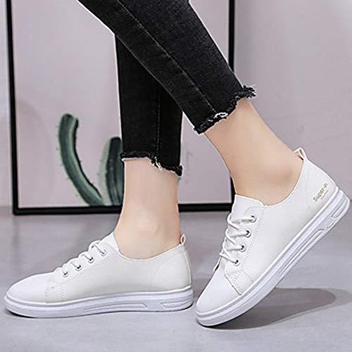EU37 TTSHOES Mujer Zapatos Azul Verano De Tacón CN37 PU Microfibra Azul Zapatillas Amarillo Confort 5 Plano US7 UK5 Deporte Sintético Negro White Primavera FFH5rwqC