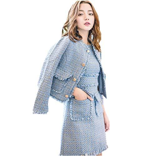 Tweed Skirt Set - Women Tweed 2Piece Set Dress Long Sleeve Short Jacket and Mini Party Skirt