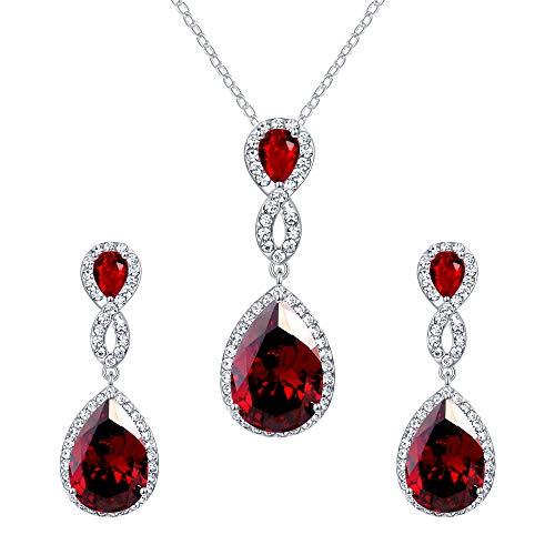 (EVER FAITH 8-Shape Garnet Color CZ Necklace Earrings Set Austrian Crystal Silver-Tone)