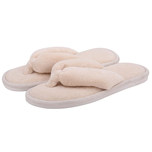 Indoor Slippers for Women Open Toe, Soft Cute Non Slip House Slippers (M- US Women Size 7-8, Beige)