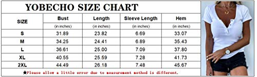 Yobecho Womens Short Sleeve Scoop Neck Button Up Tops Blouse T Shirt