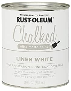 Rust-Oleum 285140 Ultra Matte Interior Chalked Paint 30 oz, Linen White