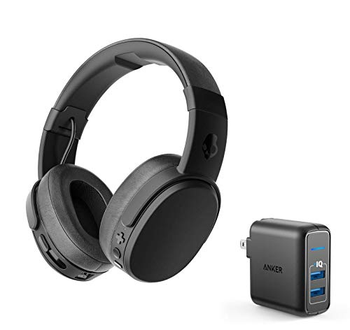 - Skullcandy Crusher Wireless Bluetooth Over-Ear Headphone Bundle with Anker 2 Port USB Wall Charger - Black/Coral