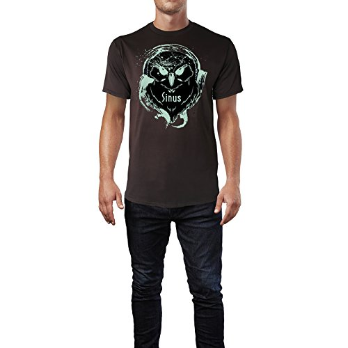 SINUS ART ® Splash Art Eule mit Kopfhörern Herren T-Shirts in Schokolade braun Fun Shirt mit tollen Aufdruck