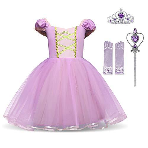 HNXDYY Cinderella Rapunzel Princess Girls Dress Fancy Party Costume Size (100) 2-3 Years Purple ()