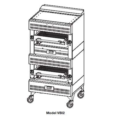 Vulcan VIR2 Deck Broiler - Double Deck Burners, (2)25.5x24.5 inch Cooking Grids, Stainless Steel, LP