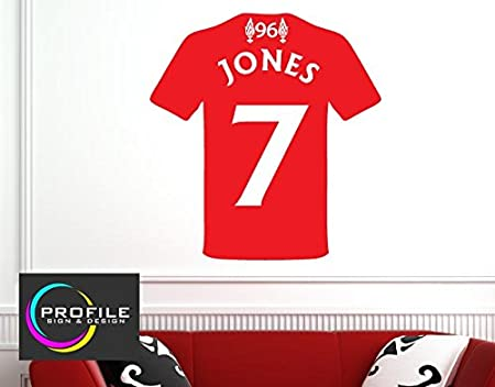 Personalised liverpool football shirt with number wall art sticker decal size approx 480 x 510