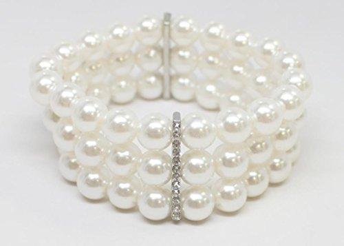Lux Accessories 3-Row Imitation Pearl Stretch Bracelet