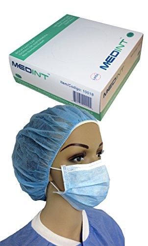 Bouffant Nurse Cap 21 Inch Light Blue Disposable Hairnet 14g Dispensing Box of 100 Pcs by MEDINT (Image #3)