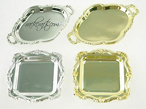 Squares Fancy Wedding Bands - Mini Plates Trays Party Platter Dish Fancy Appetizer Confection Wedding Banquet (Square - Gold)
