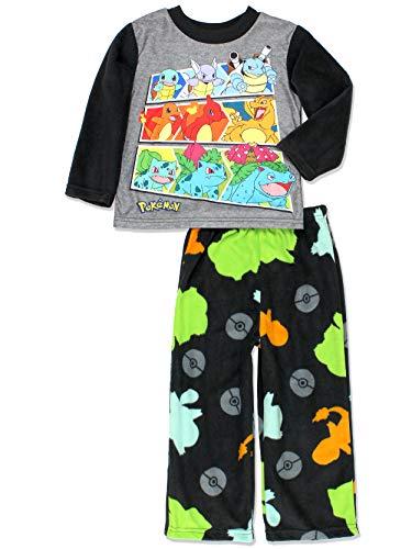 Pokemon Evolution Boys Long Sleeve 2-Piece Fleece Pajamas Set (6, Black/Multi)