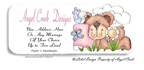 60 Personalized Return Address Labels - Spring Bear w/Pink Blankie Baby Shower Labels