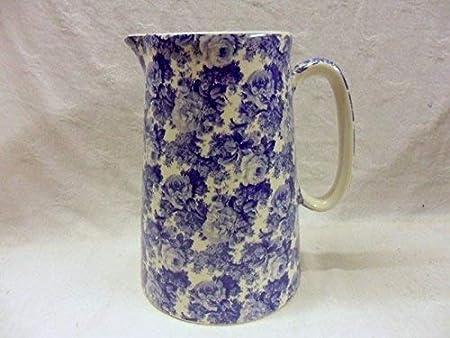 Chintz English 2 Pint Milk Jug BLUE Heron Cross Pottery LAURA