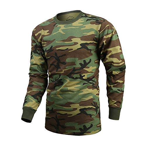 T-shirt Woodland Camo Army Cotton (BACKBONE Mens Army Military Training Outdoor Woodland Camo Long Sleeve Tee T-Shirt)