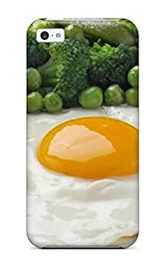Barbauller Scratch-free Phone Case For Iphone 5c- Retail Packaging - Fried Eggs Peas Broccoli Greens Yolk
