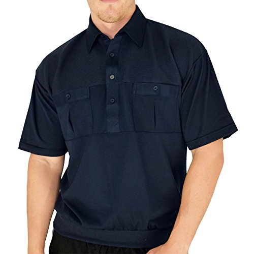 Classic by Palmand 2 Pocket Solid Banded Bottom Polo Shirt (XXLarge, Navy)