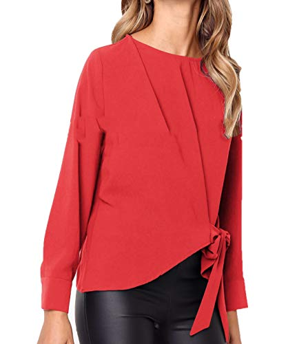 Pulls Automne Col Longues Fashion Personnalit Manches Irregulier Casual Printemps Femmes Rouge Hauts Papillon Rond T et Simple Tees ud Shirts Fashion Jumpers N Blouse Tops qZHwtnO