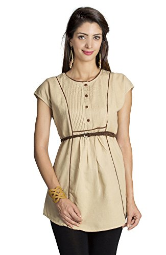 MOHR Women's Tunic with Cap Sleeves and Contrast Piping Large Beige by MOHR - Colors of India