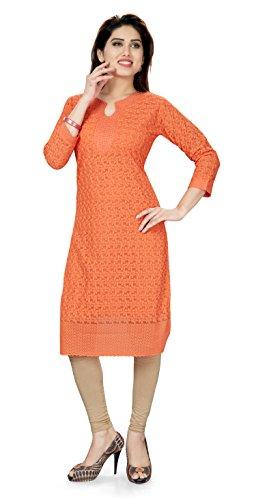 (TrendyFashionMall Cotton Kurti With Chikankari Embroidery Work Orange01-4XL(50))
