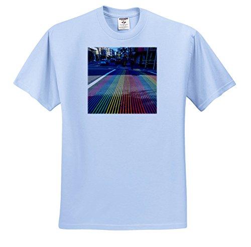 Danita Delimont - Cities - Rainbow Street Crossing, Castro District, San Francisco, California - T-Shirts - Adult Light-Blue-T-Shirt 5XL - Castro Street Francisco San