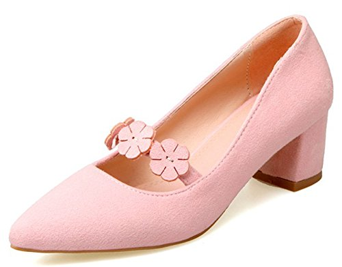 Easemax Womens Sweet Flowers Metà Décolleté In Pelle Scamosciata Con Faux Suede Mary-jane Rosa