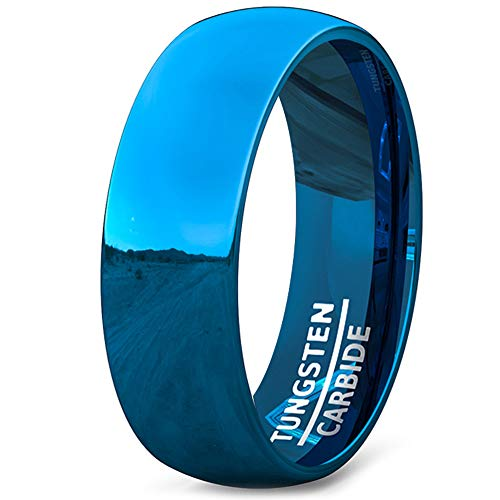 (Duke Collections Mens Wedding Band Tungsten Ring 8mm Blue Polished Dome Comfort Fit (9.5))