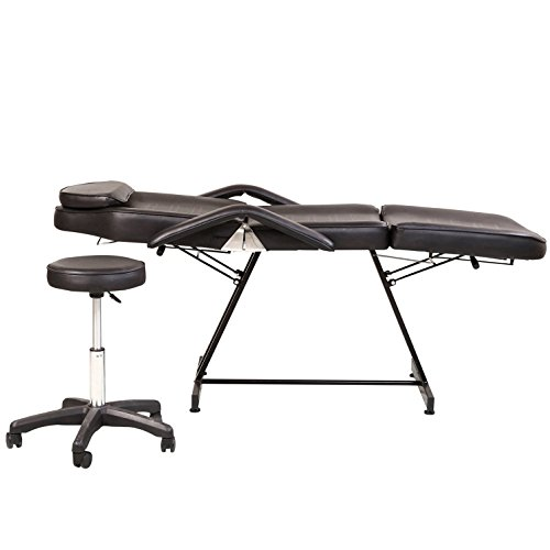 REAL-LIFE Beauty Tools Salon and Spa Massage Table Bed with a Stool (black) by REAL-LIFE STORE