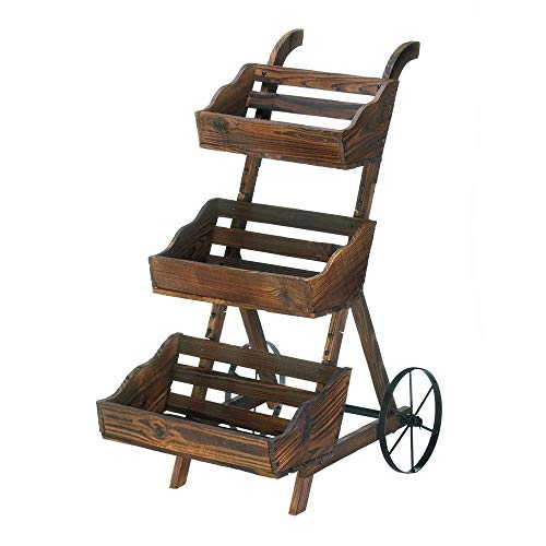 Dj_siphraya Wagon Rolling Country cart Shelves Flower Plant Pot Brown Made of Wood & Metal.Size: 9