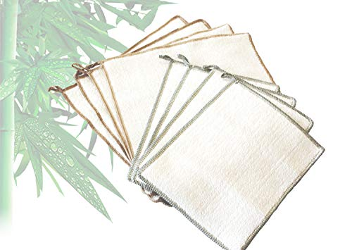 Natural Bamboo Kitchen Dish Cloth, White Washcloths Dish Towels, Cleaning Cloths & Dish Rags,Antibacterial,Efficient Degreasing,Bag of (4 Large&4 Small ) pcs ()