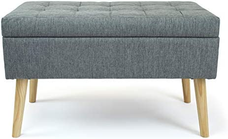 Crew Brooklyn 32″ Rectangular Gray Storage Fabric Ottoman Bench Grey Solid Mid-Century Modern Rectangle Polyester