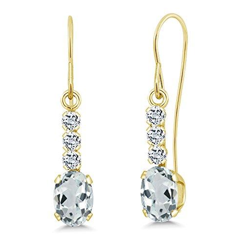 Yellow Gold Genuine Aquamarine Earrings - 9