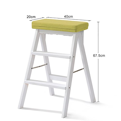 STEP STOOL YXX White Solid Wood Ladder For Adults Wooden Kitchen Stepladder Portable Fold Up Footstool Multifunction Small Stool Bench (Color : #3)