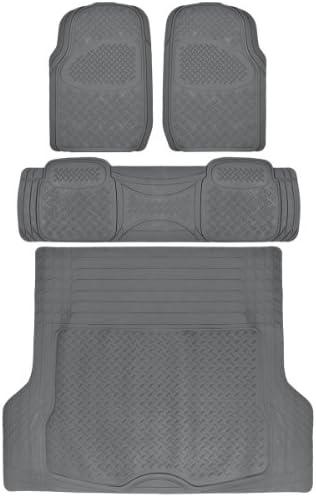 BDK 4 PC Ridged Heavy Duty Car Rubber Mats Gray – Universal Fit, 2 Row + Trunk Cargo Mat, All Weather Proctection