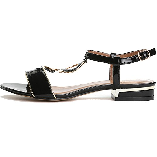 Sandals Alexis Summer Black Buckle Women's Design Leroy Fashion Flat Classic 4Zr8wx45q