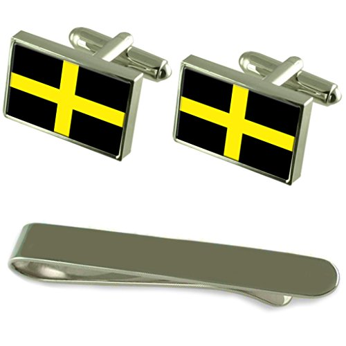 St David?s Cross Flag Silver Cufflinks Tie Clip Engraved Gift Set by Select Gifts