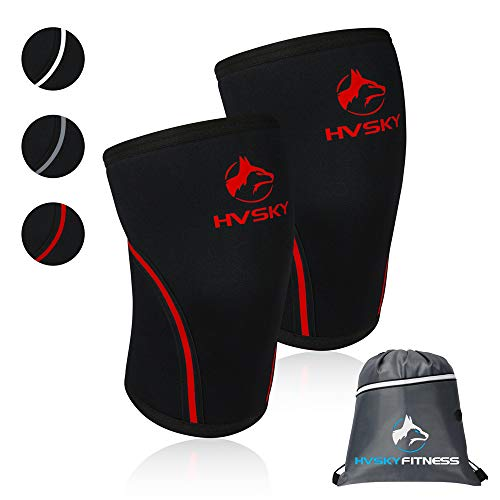 HVSKY Fitness Knee Sleeves for Weightlifting - Compression for Crossfit, Powerlifting, Squats - 7mm Lifting Sleeve Support (1 Pair), for Men & Women (Crimson Red, Large)