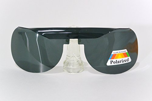 POLARIZED CLIP-ON wrap around frame DARK GRAY LENS slip-in BEHIND PRESCRIPTION EYEGLASSES