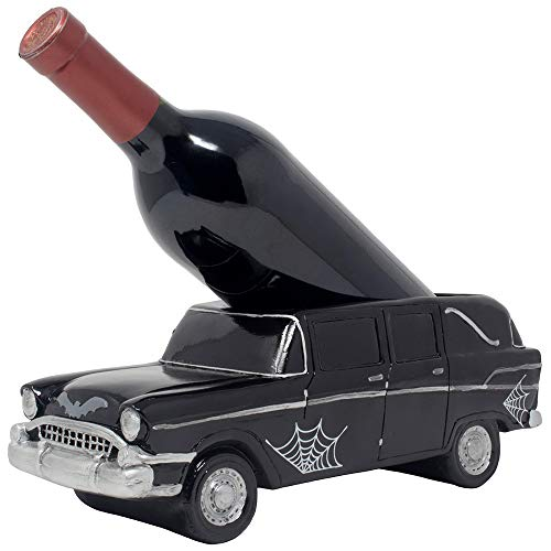 Hearse Halloween Decoration (Whimsical Classic Hearse Wine Bottle Holder As Vintage Car Model Decorative Halloween Party Decorations and Spooky Gothic Décor Tabletop Wine Racks for Bar or Countertop and Funny Gag Gifts for)