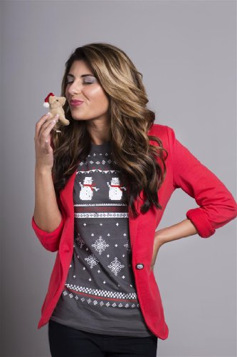 T-shirt de Noël avec Bonhomme de neige pour femmes - Gris