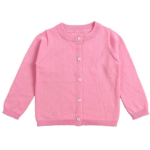Little Girl Knit Cardigan Sweater - Toddler Girl Button Down Knitted School Uniforms Cardigan 6T Pink