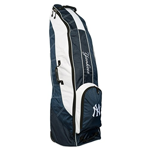 Team Golf MLB New York Yankees Travel Golf Bag, High-Impact Plastic Wheelbase, Smooth & Quite Transport, Includes Built-in Shoe Bag, Internal Padding, & ID Card Holder