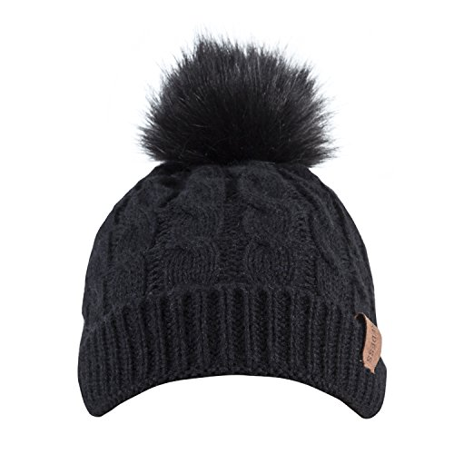 Kids Winter Warm Fleece Lined Hat, Baby Toddler Children's Beanie Pom Pom Knit Cap for Girls and Boys by REDESS (Black) by REDESS (Image #2)