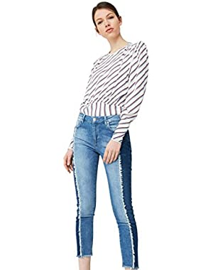 Mango Women's Relaxed Crop Contrast Jeans