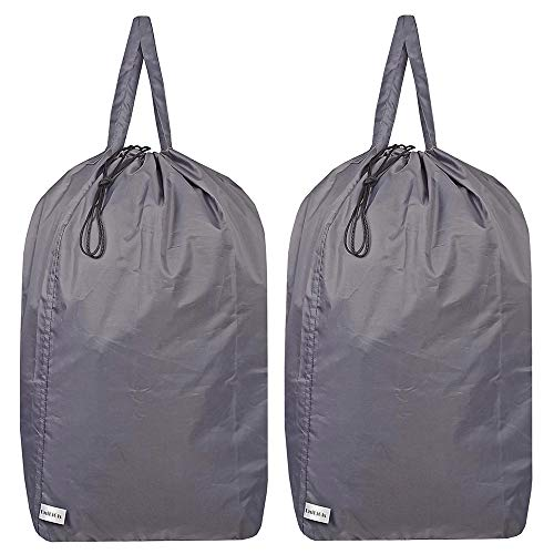 UniLiGis Tear Proof Nylon Laundry Bag with Handles (2 Pack),Travel Laundry Bag with Drawstring Closure,Dirty Clothes Bag Fit Most Laundry Hamper or Basket,27.5x34.5 in,Grey