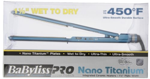 BaByliss Pro BABNT5073T Nano Titanium-Plated Wet-To-Dry Hair Ultra-Thin выправляя, 1,5-дюймовый