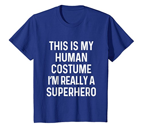 Kids Funny Superhero Costume Shirt Halloween Kids Adult Men Women 8 Royal Blue ()