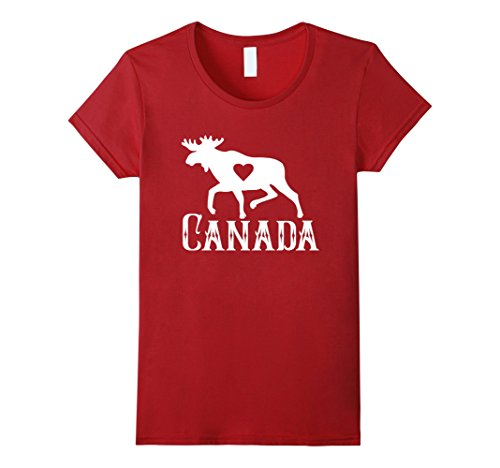 Womens Love Moose Canada Gift T-Shirt Small Cranberry