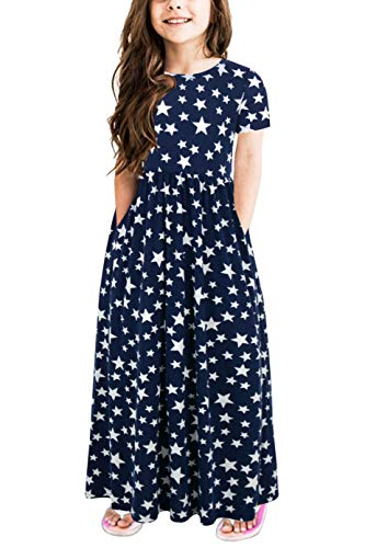 GORLYA Girl's Short Sleeve Floral Print Loose Casual Holiday Long Maxi Dress with Pockets 4-12 Years (4-5Years/Height:110cm, Navy ()